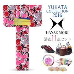 2016 Summer Hanae Mori Yukata Ume Black Red 11 items set