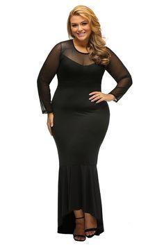 b16e3ee7a6c Black Sheer Mesh Splice Curvy Mermaid Dress. Evening Dresses Plus SizePlus  Size Maxi ...