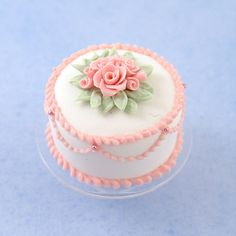 Miniature White Cake w/Pink Roses on a Glass Cake Stand | Stewart Dollhouse Creations