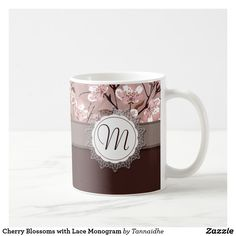 Shop Cherry Blossoms with Lace Monogram Coffee Mug created by Tannaidhe. M Letter Design, Coffee Cups, Tea Cups, Decoupage, Monogram Coffee Mug, Mug Printing, Personalized Mugs, Lettering Design, Cherry Blossoms