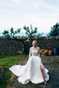 Bride in Emma Beaumont Wedding Dress - Dale Weeks Photography | Stylish Welsh Wedding | Emma Beaumont Wedding Dress | Mis-Match High Street Grey Bridesmaid Dresses | Green Foliage Bouquets