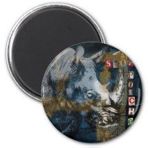 Stop Rhino Poachers Wildlife Conservation Art 2 Inch Round Magnet Sumatran Rhino, Rhinoceros, Wildlife Conservation, Horns, Design, Art, Art Background, Rhinos, Kunst