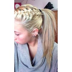 Blonde hair with messy braid in pony tail, I wish I could french braid ❤ liked on Polyvore featuring accessories, hair accessories and hair
