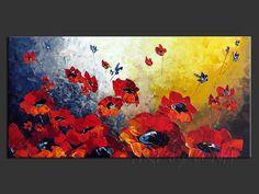 Canadian Poppies :: Original canvas painting by Lena Karpinsky