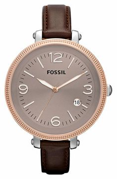 Like the strap but want a silver face. Fossil Round Leather Strap Watch available at #Nordstrom
