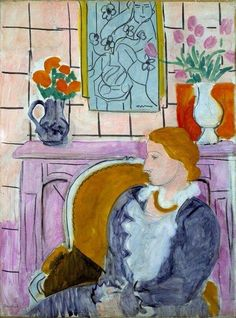 """Henri Matisse - """"Woman in blue in front of fireplace """",1937."""