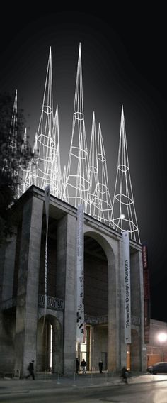 """Le punte di milano"" by Michele de Lucchi at Triennale [Light Art - Light Installation - Light Painting - Light Exibithion] Architecture Design, Instalation Art, Design Museum, Art Design, Interior Design, Art Plastique, Light Art, Public Art, Light Painting"