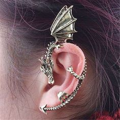 Vintage Personality Complex Gothic Punk Dragon Shaped Non Pierced Ear Cuff Earrings