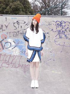#leather #details #stripes #orange #blue Graffiti, Skate Park, Harajuku, Fall Winter, About Me Blog, Stripes, Hats, How To Wear, Fashion Design