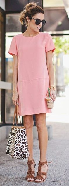 #business #casualoutfits #spring | Blush Pink Dress + Brown Sandals | Hello Fashion