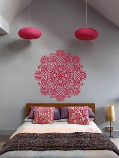 Cheap home decor, Buy Quality decoration pattern directly from China yoga stickers Suppliers: Pinturas Murais Big Mandala Vinyl Wall Decal Yoga Sticker Menhdi Lotus Large Pattern Ornament Om Indian Mural Home Decor Bedroom Wall, Bedroom Decor, Buddha Bedroom, Bedroom Ideas, Decor Room, Art Decor, Deco Zen, Deco Addict, Mural Wall Art