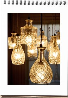 Decanters used for lighting feature. cool!