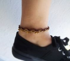 Anklet bracelet made with macrame technique using beige and chocolate brown waxed polymer threads and beads in gold colour. Total lenght / (Contact me if you want it longer or shorter) You can wear it in water Handmade item Anklet Bracelet, Macrame Bracelets, Anklets, Bracelet Making, Gifts For Her, My Etsy Shop, Handmade Items, Beige, Brown