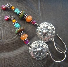 Boho Balinese Disc Earrings: Color meets wire. Like the color mix.