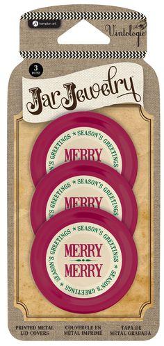Hampton Arts Vintologie Jar Jewelry Merry Merry Metal Mason Jar Lid Covers
