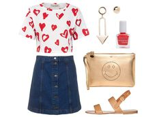 The 2015 way to do denim and a T-shirt? A cool combo of a button-front A-line skirt and a graphic crop top. The proportions are just right and will stand out among a sea of maxi dresses and tank tops. And don't forget the accessories—a metallic smiley-face clutch is always a crowd-pleaser.