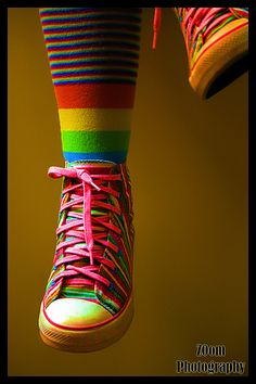 rainbow shoes, rainbow colors and rainbows.