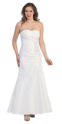 CLEARANCE - White Strapless Long Formal Dress Gathered Elegant Renaissance