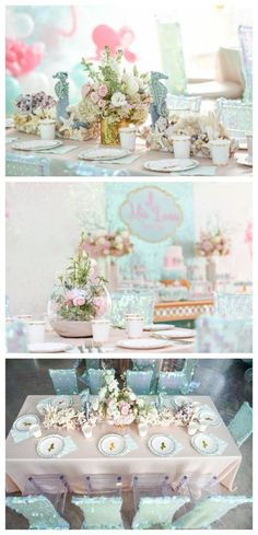 Mermaid Birthday Party – Pretty My Party – Party Ideas mermaid-birthday-party-tables Birthday Party Tables, 15th Birthday, First Birthday Parties, Girl Birthday, First Birthdays, Birthday Ideas, Classy Birthday Party, Picnic Birthday, Birthday Board