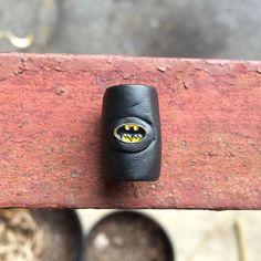 Black Batman Polymer Clay Dread Loc Bead by CalypsoLocBeads