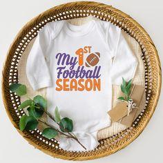 My 1st Football Season Onesie Custom Team Color Option | Etsy First Football, School Football, Football Season, Football Shirts, Making Shirts, Color Combos, Onesies, Kid, Seasons