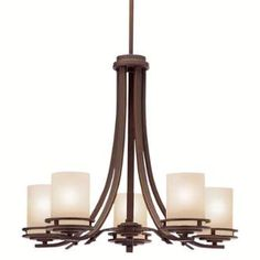 """View the Kichler 1672 Hendrik 5 Light 25"""" Wide Single Tier Chandelier with Satin Etched Glass Shades at LightingDirect.com."""
