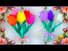 (94) Букет цветов из бумаги своими руками. Поделка на тему весна для детского сада - YouTube