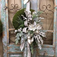 homedecor christmas Excited to share this item from my shop: Christmas Wreath, Christmas Front Door Wreath, White Christmas Wreath Christmas Front Doors, Christmas Door Wreaths, Christmas Swags, Wreaths For Front Door, Holiday Wreaths, Rustic Christmas, Winter Wreaths, Primitive Christmas, Handmade Christmas