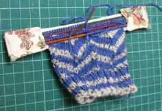 "Life on the run: Drum roll please..... Hold knitting in progress. 2"" wide elastic and fabric 9cm x 4cm (or wider - measure tops of needles"