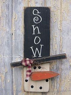 PRIMITIVE Snowman Wood Sign Door Rustic Christmas Country Home Decor