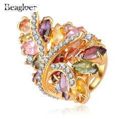 Beagloer Unique New Multicolor Austrian Crystal  Ring Gold Color Flower Ring Ri-HQ0320 #Affiliate