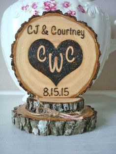 Rustic Wedding Cake Topper Personalized Heart by SweetHomeWoods