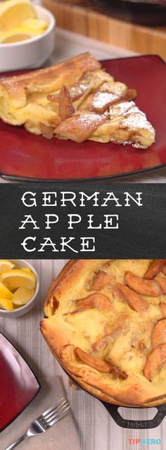 German Apple Pancake Recipe | As good, if not better, than apple pie! Plus, it's a technically a pancake so enjoy it for breakfast or dessert! Super-easy and fun to make - click for the recipe and video! #brunchideas #cookingwithkids #homecooking