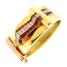 Fabulous 14K Tri Color Gold Cuff Accented by Three Dimensional Ruby & Diamond Detailing.