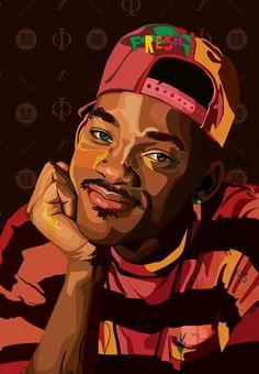 Fresh Prince of Bel Air. Arte Do Hip Hop, Hip Hop Art, Dope Cartoons, Dope Cartoon Art, Arte Dope, Dope Art, Black Love Art, Black Girl Art, Pop Art Portraits