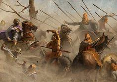 Alejandro cerca de Dario en la batalla de Issos. El emperador persa huye al estar tan cerca de la muerte, es la derrota que luego se certificara como definitiva en Gaugamela