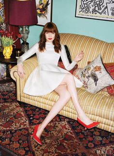 Vogue USA.  Timorous Beasties for John Lewis 'Hoopoe' exclusive cushion next to Miss Florence Welch.