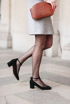 smart, shoes, simple, style, fashion, polka dot tights