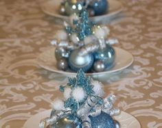 Christmas Centerpiece Red White and Silver by GlitterGlassAndSass