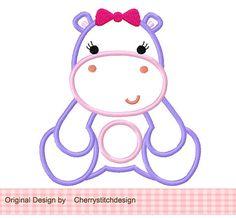 Girly Hippo 02 Applique 4 x 4 5 x 7 6 x por CherryStitchDesign