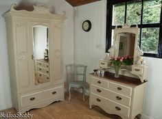 Beautiful antique Edwardian bedroom suite. Including gorgeous dressing chest & wardrobe hand painted in Annie Sloan