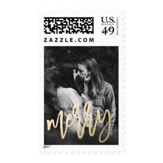 Modern Luxe   Holiday Photo Postage - overlay template diy unique customize