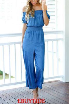Cheap overall jumpsuit, Buy Quality jumpsuit bodysuit directly from China jumpsuit solid Suppliers: Women New Sexy Solid Jumpsuits Summer Short Sleeves Slash Neck Long Length Casual Fashion Loose Chic Overalls Ruffles Feminino Jumpsuit Casual, Jumpsuit Outfit, Summer Jumpsuit, Elegant Jumpsuit, Maternity Jumpsuit, Summer Romper, Striped Jumpsuit, Off Shoulder Jumpsuit, Jumpsuit With Sleeves