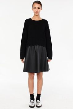 Metallic Loafers, Oversized Jumper with Leather flared skirt and black ankle socks.  Alternative Chic Win.  ZAMBESI