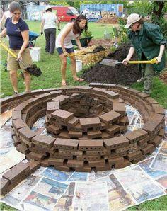 Spiral garden idea with bricks