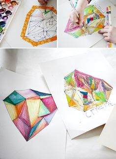 DIY Crystal Gem Jewel Paintings – Watercolor crafts with Kids – Geometric Art