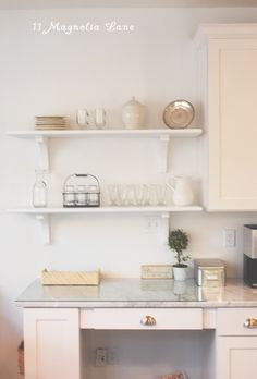 DIY open shelving in kitchen |
