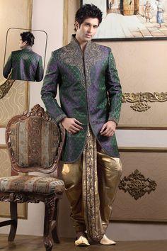 Green And purple Two Tone Dhoti Sherwani BUY HERE: <3 http://www.gravity-fashion.com/10209-green-and-purple-two-tone-dhoti-sherwani.html <3 £246.43