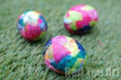 Colorful decoupage Easter eggs kids' craft. This tutorial is with real eggs, but you could also use plastic.