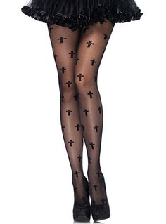Gothic Cross Black Pantyhose at PLASTICLAND